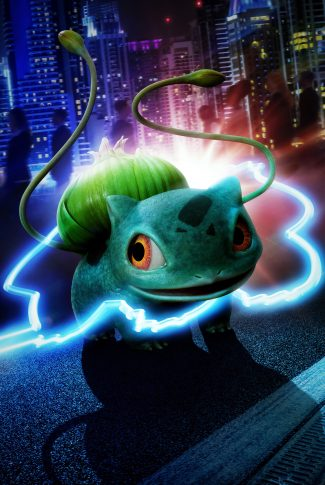 A Pokemon Detective Pikachu character poster of Bulbasaur with its outline in neon lights.