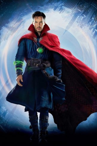 A movie wallpaper of Doctor Strange with the Eye of Agamotto around his neck.