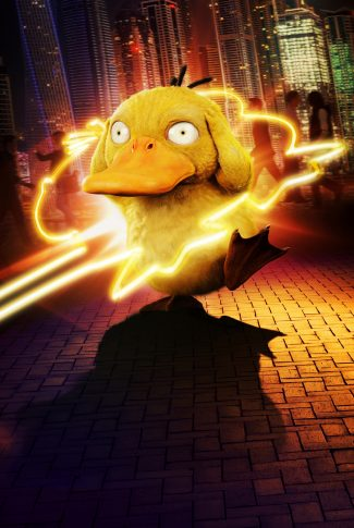 A Pokemon Detective Pikachu character poster of Psyduck with its outline in neon lights.