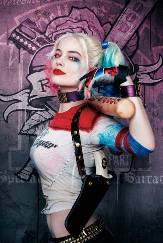 A cool and menacing Suicide Squad character poster of Harley Quinn.