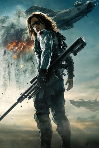 A movie character poster of the Winter Soldier from Captain America: The Winter Soldier.