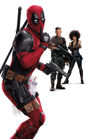 A humorous movie wallpaper of Deadpool with a unicorn plush toy between his legs, and Cable and Domino on the background.