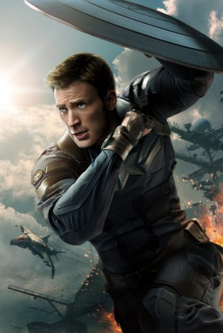 A movie character poster of Captain America from Captain America: The Winter Soldier.