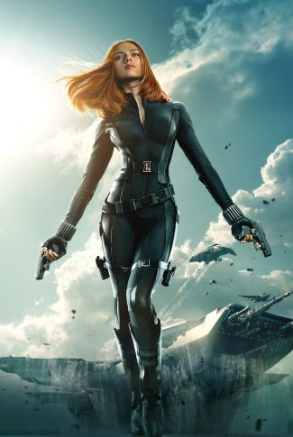 A movie character poster of Black Widow from Captain America: The Winter Soldier.