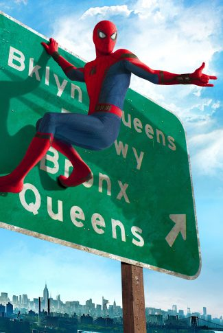 A movie wallpaper of Spider-Man hanging on a signage from Spider-Man: Homecoming.