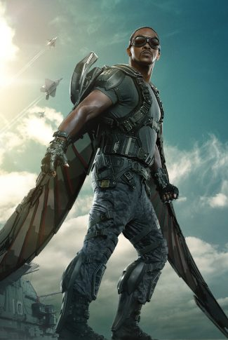A movie character poster of Falcon from Captain America: The Winter Soldier.