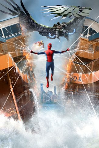 A movie wallpaper of Spider-Man webbing together a broken ship in half with Iron Man and Vulture behind from Spider-Man: Homecoming.