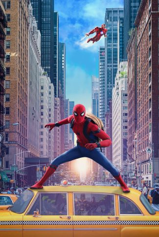 A movie wallpaper of Spider-Man on top of a cab with Iron Man flying behind from Spider-Man: Homecoming.