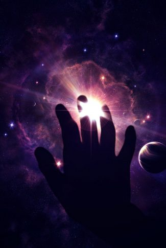 A cool wallpaper of a hand seeming to touch the star and planet-filled purple galaxy.