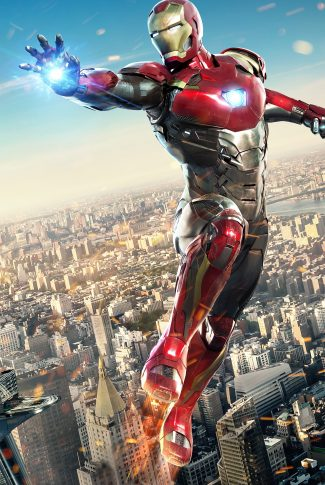 A movie character poster of Iron Man from Spider-Man: Homecoming.