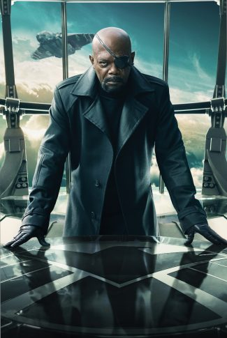 A movie character poster of Nick Fury from Captain America: The Winter Soldier.