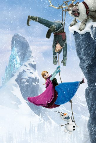 An adorable Frozen wallpaper of Kristoff, Anna, and Olaf hanging on to a rope wrapped around Sven's horns by the cliff.