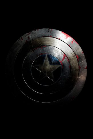 A movie wallpaper of Captain America's shield faded and worn from battle for Captain America: The Winter Soldier.