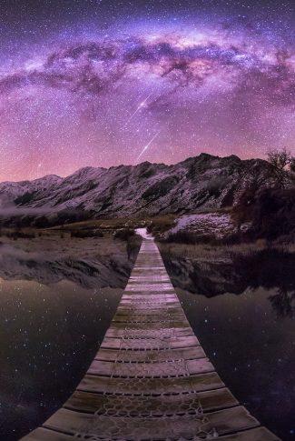 24 galaxy wallpaper bridge to the mountain