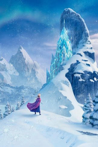 A Frozen wallpaper of Anna looking at Elsa's ice castle by the mountains.