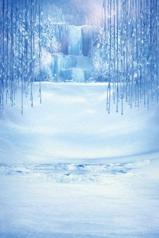 A cool Frozen wallpaper with a frozen waterfall, crystallized branches, and ground covered in snow.