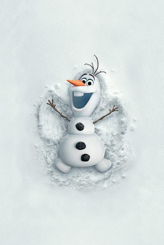 An adorable Frozen wallpaper of Olaf making snow angels.