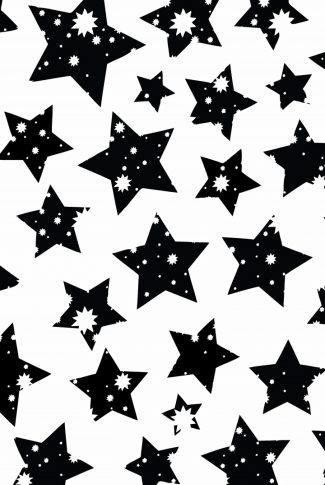 A cool artwork wallpaper of differently sized stars in black and white.