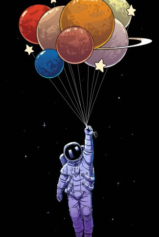 37 planet balloons and an astronaut