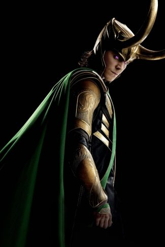A character poster wallpaper of Loki from The Avengers on a black background.