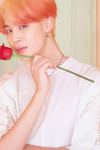 59 bts with a red rose jimin