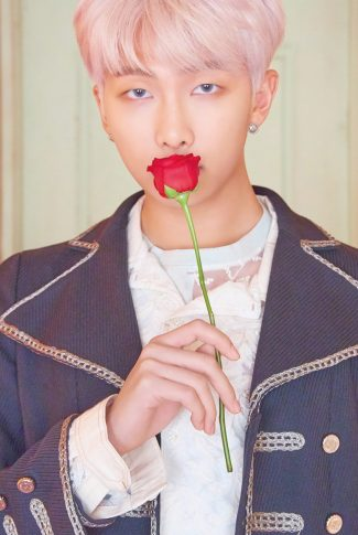 A romantic wallpaper of RM from BTS with a red rose for their Map of the Soul: Persona album shoot.