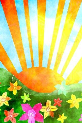 A cool artwork wallpaper of a sun and the blooming flowers.