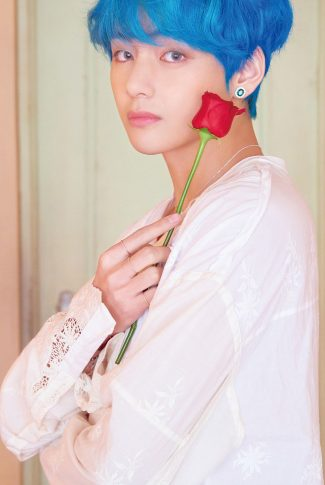 70 bts with a red rose v