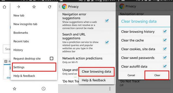 Image result for chrome for android clear cache