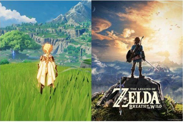 Seite an Seite Foto der Legende von Zelda und Genshin Impact