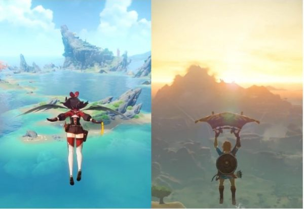Seite an Seite Fotos von Genshin Impact und Legend of Zelda