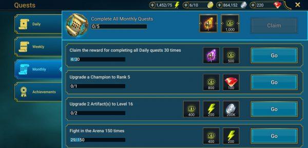 daily missions raid raid shadow legends tier list